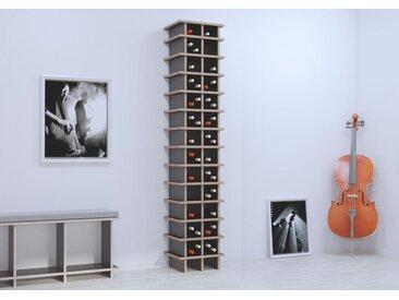 Regal Weinregal Glendana - 40 x 200 x 40 cm (B x H x T) - Schwarz, MDF Natur, 19 mm - konfigurierbar in 3D