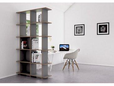 Regal Raumteiler Strada S - 120 x 205 x 30 cm (B x H x T) - eco Hellgrau, Birkenschichtholz, 18 mm - konfigurierbar in 3D