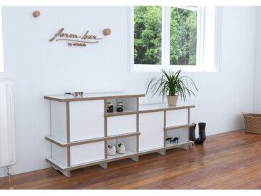 Sitzbank Garderobenbank Rytmo - 120 x 50 x 28 cm (B x H x T) - Weiss, Birkenschichtholz, 18 mm - konfigurierbar in 3D
