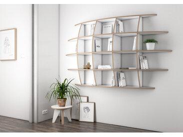 "Wandregal ""Iris"" – konfigurierbar | 172 x 100 x 30 cm | Weiß, Multiplex"