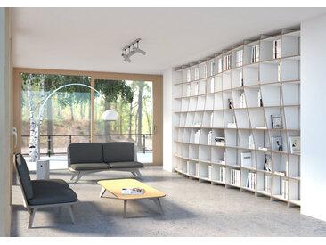 Regal Bibliothek Pure Elegance - 500 x 299 x 50 cm (B x H x T) - Weiß, MDF Natur, 19 mm - konfigurierbar in 3D