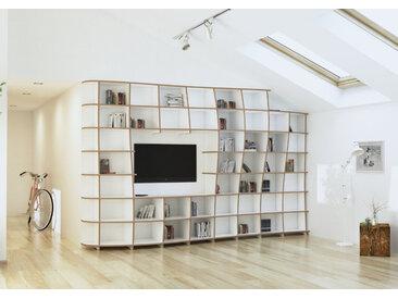 "TV-Wohnwand ""Massima"" – konfigurierbar | 347 x 220 x 46 cm | Weiß, MDF"