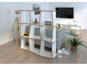 Regal Raumteiler Ondini - 120 x 120 x 30 cm (B x H x T) - Weiß, MDF Natur, 19 mm - konfigurierbar in 3D