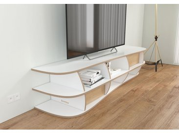 TV-Möbel TV-Lowboard Emilia - 180 x 40 x 47 cm (B x H x T) - Weiß, Birkenschichtholz, 18 mm - konfigurierbar in 3D