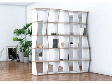 Regal Raumteiler Maliya - 200 x 200 x 41 cm (B x H x T) - Weiss, MDF Natur, 19 mm - konfigurierbar in 3D