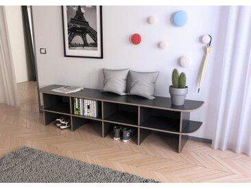 Sitzbank Garderobenbank Lana - 219 x 50 x 44 cm (B x H x T) - Schwarz, Birkenschichtholz, 18 mm - konfigurierbar in 3D