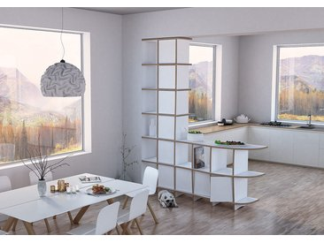 Regal Raumteiler Cassia - 163 x 200 x 39 cm (B x H x T) - Weiss, MDF Natur, 19 mm - konfigurierbar in 3D