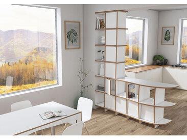 "Raumteiler ""Cassia"" – konfigurierbar | 163 x 200 x 39 cm | Weiß, MDF"