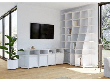 "TV-Eckregal ""Letana"" – konfigurierbar   264 x 76 x 181 cm   Weiß, MPX"