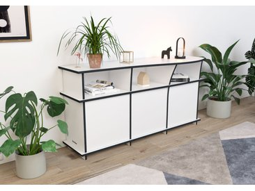 Sideboard Sideboard Yvonne - 160 x 80 x 51 cm (B x H x T) - Weiß, MDF Schwarz, 19 mm - konfigurierbar in 3D