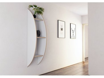 Regal Wandregal Becca - 160 x 41 x 35 cm (B x H x T) - Weiss, MDF Natur, 19 mm - konfigurierbar in 3D