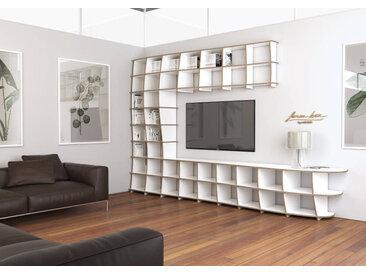 TV-Möbel Wohnwand Cielo - 400 x 250 x 56 cm (B x H x T) - Weiß, Birkenschichtholz, 18 mm - konfigurierbar in 3D