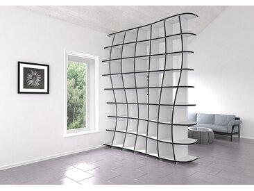 Regal Raumteiler Swing - 195 x 241 x 52 cm (B x H x T) - Weiß, MDF Schwarz, 19 mm - konfigurierbar in 3D