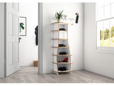 Regal Schuhregal Mimy - 55 x 130 x 35 cm (B x H x T) - Weiß, MDF Natur, 19 mm - konfigurierbar in 3D