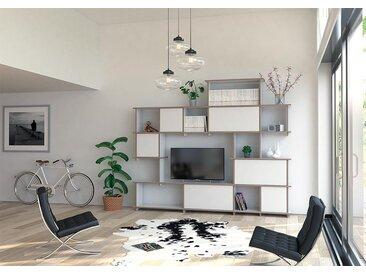 TV-Möbel Wohnwand Theo - KONFIGURIERBAR in 3D - 240 x 200 x 30 cm - Weiß, Birkenschichtholz 18 mm