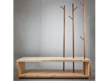 Massivholz Garderobe/Sitzbank 'MyStyle' mit Kleiderstangen aus Nussholz - echte Handarbeit aus Südtirol