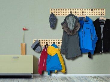 Garderobe mit Haken aus edlem Nussholz 140 x 18 x 3 cm