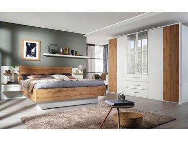 Schlafzimmer 4039 in alpinweiß/ Eiche Wotan-Nachbildung, ohne Bettschubkasten
