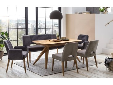 Stuhlgruppe Toulan / Anor XL in Eiche rustik geölt, mit ausziehbarer Tischplatte