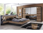 Schlafzimmer Ventura-Plus in schwarz/Eiche Sanremo dunkel Nachbildung