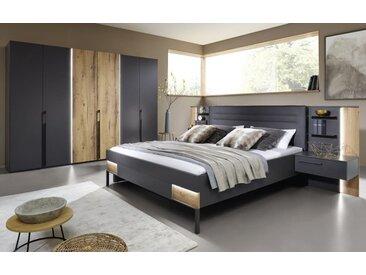 Schlafzimmer Valetta in graphit matt/Atlantic oak-Nachbildung hell, mit Beleuchtung