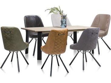 Stuhlgruppe Eeefje / Moreni in railway brown, mit bunten Stühlen