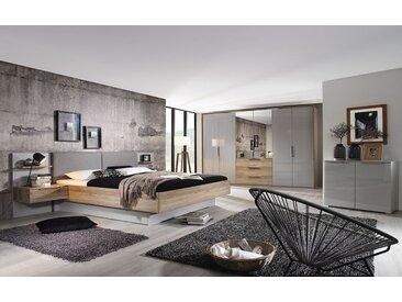 Schlafzimmer 4037 seidengrau/Eiche Sanremo hell Optik, mit Bettschubkasten