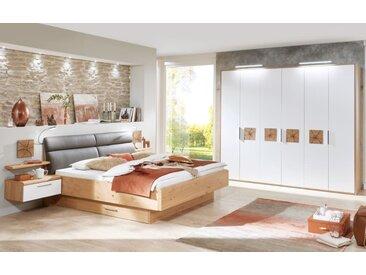 Schlafzimmer Cena in Wildeiche Furnier/Lack weiß,  Liegefläche 200 x 200 cm