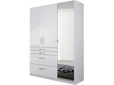 Drehtürenkleiderschrank Homburg in weiß, Breite 136 cm, mit 4 Schubkästen und Spiegeltür