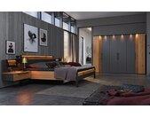 Schlafzimmer Joline in Lack graphit/Wildeiche massiv, Schrankbreite ca. 299 cm, Liegefläche ca. 180 x 200 cm