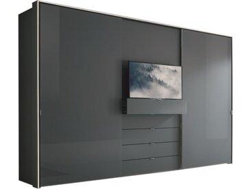Schwebetürenschrank Media in Vulkanglas/Vulkan-Optik Matt