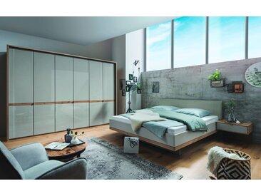 Schlafzimmer Barcelona in Bianco Eiche-Nachbildung/Farbglas champagner, ca. 200 x 200 cm