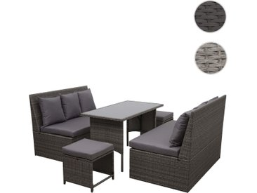 Poly-Rattan Garnitur HWC-G16, Gartengarnitur, Gastronomie 2x2er Sofa Tisch 2xHocker