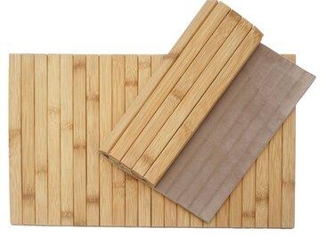 2-teiliges Tischset HWC-E72, Platzdeckchen Tischmatte Platzset, Bambus abwaschbar flexibel 45x30cm