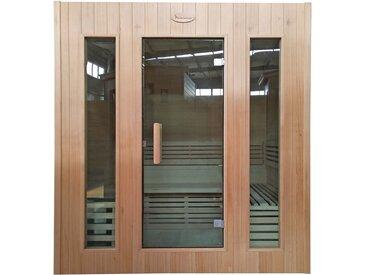 Sauna HWC-D59, Saunakabine Wärmekabine, Saunaofen 4,5kW Saunasteine Sicherheitsglas 4 Personen 200x175x160cm