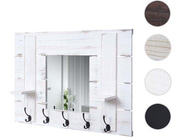 Wandgarderobe HWC-C89 mit Spiegel, Garderobenpaneel Garderobe, Shabby-Look Vintage, 5 Haken 90x60cm