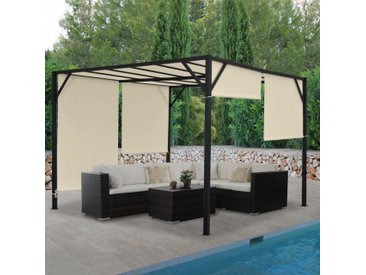 Pergola Baia, Garten Pavillon Terrassenüberdachung, stabiles 6cm-Stahl-Gestell + Schiebedach