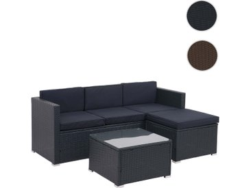 Poly-Rattan Garnitur HWC-F40, Balkon-/Garten-/Lounge-Set Sitzgruppe, 3er Sofa Tisch