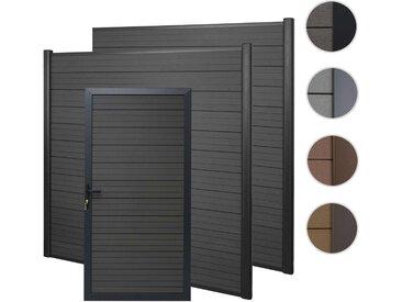 WPC-Sichtschutz mit Türe Sarthe, Windschutz Zaunelement Tor, 3er Set Alu-Pfosten