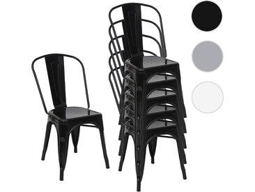 6x Stuhl HWC-A73, Bistrostuhl Stapelstuhl, Metall Industriedesign stapelbar