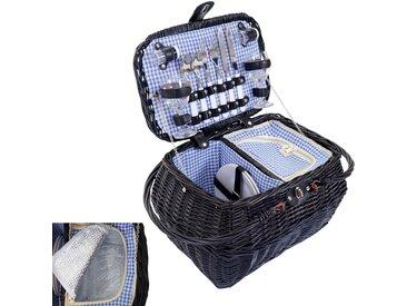 Picknickkorb-Set für 2 Personen, Picknicktasche + Kühlfach, Porzellan Glas Edelstahl, blau-weiß