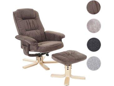 Relaxsessel M56, Fernsehsessel TV-Sessel mit Hocker, Stoff/Textil