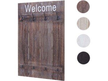 Wandgarderobe HWC-C89 Welcome, Garderobe Garderobenpaneel, Shabby-Look Vintage, 91x60cm