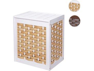 Wäschekorb HWC-G37, Wäschesammler Wäschesortierer Wäschebox, Massiv-Holz Shabby-Look Geflecht