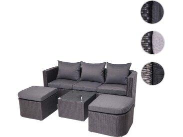 3in1-Garnitur HWC-J37, Garten-/Lounge-Set Sonneninsel, Spun Poly halbrundes Poly-Rattan