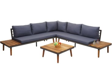 Garten-Garnitur HWC-E97, Garnitur Sitzgruppe Lounge-Set Sofa, Akazie Holz grau