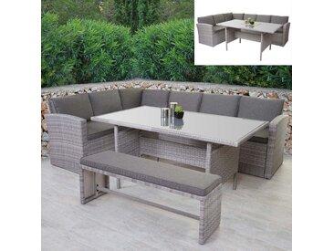Poly-Rattan-Garnitur HWC-A29, Gartengarnitur Sitzgruppe Lounge-Esstisch-Set Sofa, hellgrau