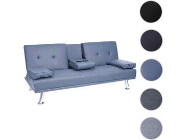 3er-Sofa HWC-F60, Couch Schlafsofa Gästebett, Tassenhalter verstellbar 97x166cm
