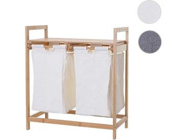 Wäschesammler HWC-B83, Laundry Wäschesortierer Wäschekorb Wäschebehälter, Bambus 2 Fächer 74x64x33cm 70l