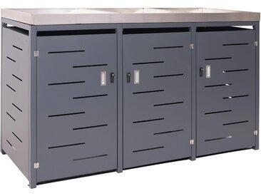 3er-Mülltonnenverkleidung HWC-H40, Mülltonnenbox, Pflanzkasten Edelstahl-Metall-Kombi 117x196x80cm erweiterbar